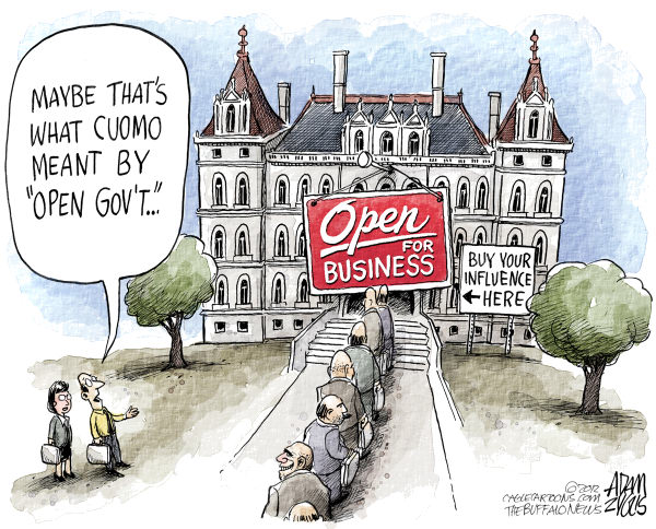 Adam Zyglis - The Buffalo News - LOCAL NY State Open for Business COLOR - English - new york, ny, state, cuomo, governor, open for business, economy, taxes, open, government, transparency, corruption, lobbying, influence, political, donations, money, pay to play