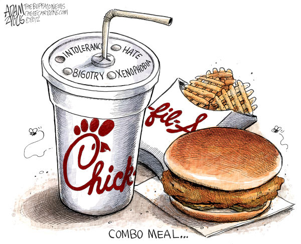 Adam Zyglis - The Buffalo News - Chick-Fil-A Intolerance Color - English - chick-fil-a, intolerance, gay, rights, hate, bigotry, xenophobia, civil rights, equality, fast food, kiss in, protest, marriage, same sex, homosexuality