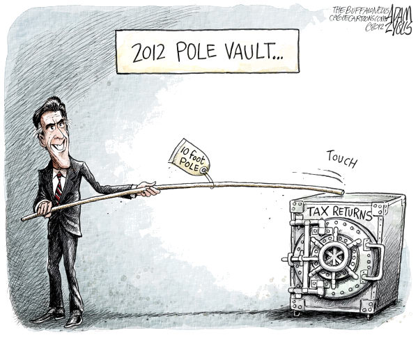 Adam Zyglis - The Buffalo News - Romney's Tax Returns - English - mitt, romney, 10 foot pole, tax returns, vault, pole vault, 2012, olympics, gop, republican, candidate, president, race, financial, past, accounts, bain, off shore, swiss