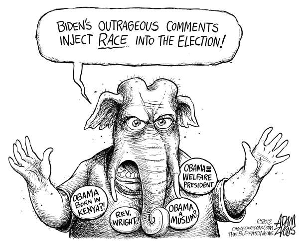Adam Zyglis - The Buffalo News - GOP Attacks Biden - English - gop, joe biden, gaffe, race, slavery, black, white, chains, republican, party, muslim, obama, president, reverend, wright, welfare, kenya, election 2012, politics