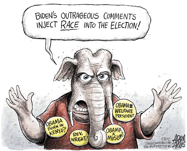Adam Zyglis - The Buffalo News - GOP Attacks Biden Color - English - gop, joe biden, gaffe, race, slavery, black, white, chains, republican, party, muslim, obama, president, reverend, wright, welfare, kenya, election 2012, politics