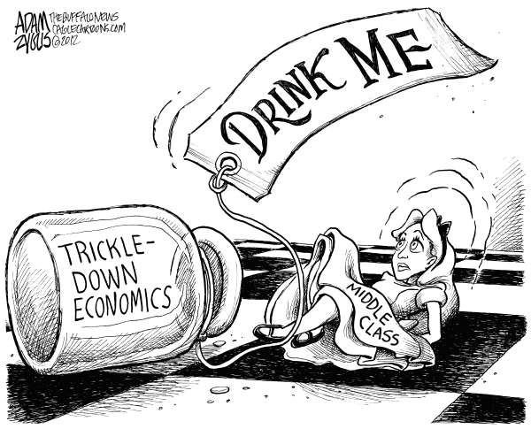 Adam Zyglis - The Buffalo News - Shrinking Middle Class - English - middle class, shrinking, trickle down, trickle-down, economics, tax cuts, rich, wealthy, deregulation, Bush, GOP, Republican, party, policy, wall street, income, government, politics