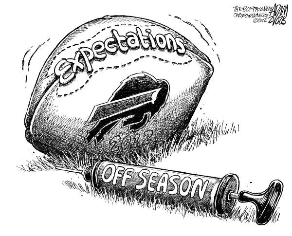 Adam Zyglis - The Buffalo News - LOCAL Buffalo Bills Expectations - English - buffalo, bills, nfl, football, sports, entertainment, season, mario williams