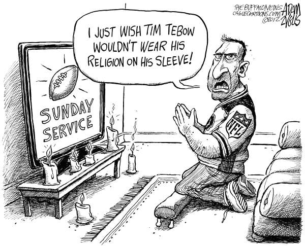 Adam Zyglis - The Buffalo News - NFL Sunday Service - English - tim tebow, jets, new york, buffalo bills, nfl, religion, service, sunday, sports, entertainment, football, fans