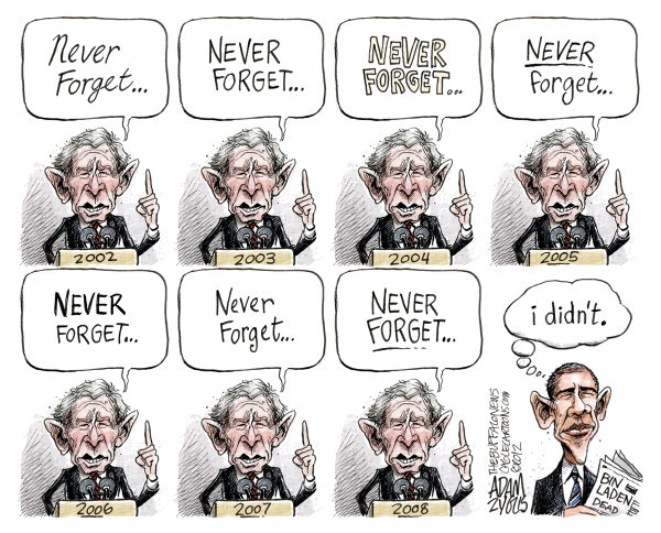 Adam Zyglis - The Buffalo News - Never Forget 9-11 COLOR - English - 9-11, 9/11, september 11, never forget, bush, w, president, obama, white house, osama bin laden, dead, terrorism, war on terror