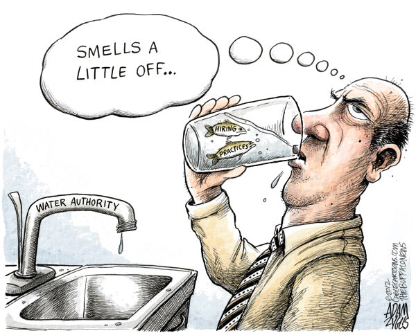 LOCAL Patronage in the Water Authority © Adam Zyglis,The Buffalo News,water authority, patronage, buffalo, fishy, water, government, politics