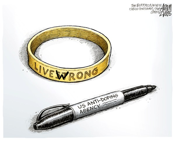 Adam Zyglis - The Buffalo News - Lance Armstrong COLOR - English - lance, armstrong, doping, scandal, usada, anti-doping, agency, records, title, evidence, cheating, sports, cycling, bikes, entertainment, celebrity, livestrong, livewrong