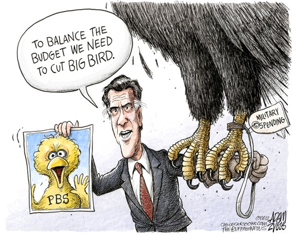 Adam Zyglis - The Buffalo News - Romney's Big Bird COLOR - English - romney, mitt, big bird, pbs, presidential, debate, election, politics, candidate, spending, military, budget, gop, decifit, debt, math, eagle, sesame street