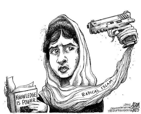 Adam Zyglis - The Buffalo News - Pakistani Schoolgirl - English - Malala Yousufzai, pakistan, pakistani, girl, 14 year old, shot, education, school, radical islam, taliban, middle east, power, extremism, muslim