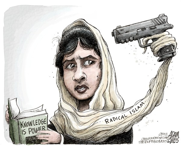 Adam Zyglis - The Buffalo News - Pakistani Schoolgirl COLOR - English - Malala Yousufzai, pakistan, pakistani, girl, 14 year old, shot, education, school, radical islam, taliban, middle east, power, extremism, muslim