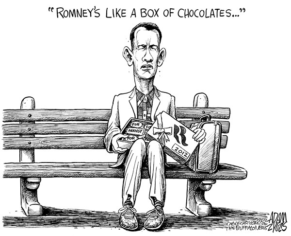 Adam Zyglis - The Buffalo News - Assorted Romney - English - romney, assorted, mitt, candidate, gop, debate, afghanistan, abortion, detroit, iraq, positions, president, election, forrest, gump, box of chocolate
