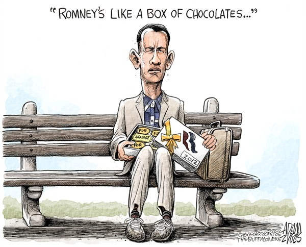 Adam Zyglis - The Buffalo News - Assorted Romney COLOR - English - romney, assorted, mitt, candidate, gop, debate, afghanistan, abortion, detroit, iraq, positions, president, election, forrest, gump, box of chocolate