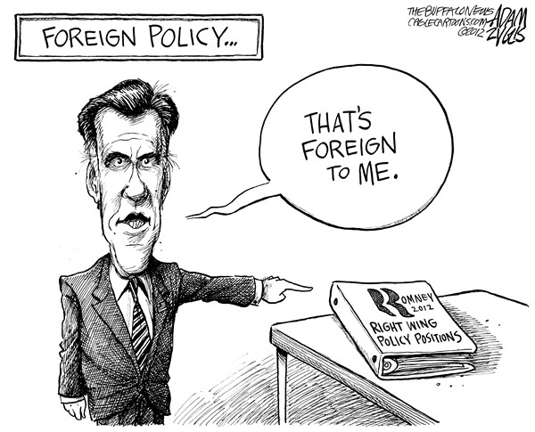 Adam Zyglis - The Buffalo News - Romney's Foreign Policy - English - romney, mitt, gop, election, candidate, president, foreign policy, flip flop, primaries, republican, campaign, positions, moderate, conservative