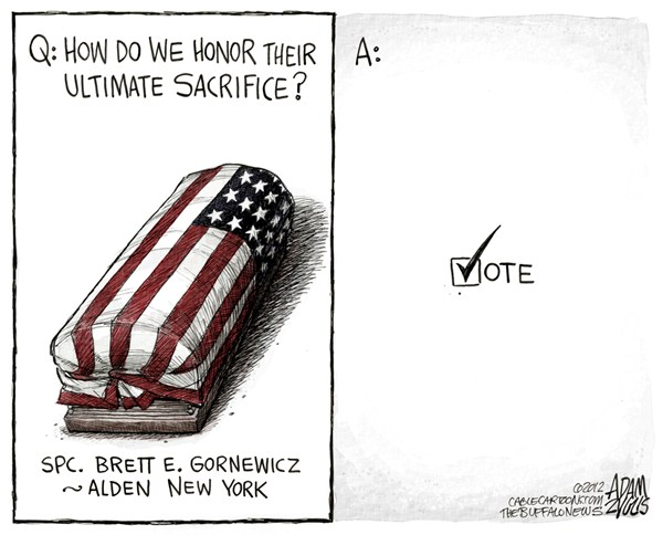 Adam Zyglis - The Buffalo News - Another Reason to Vote COLOR - English - vote, sacrifice, troops, afghanistan, soldiers, us, american, fallen, army, military, election day, right