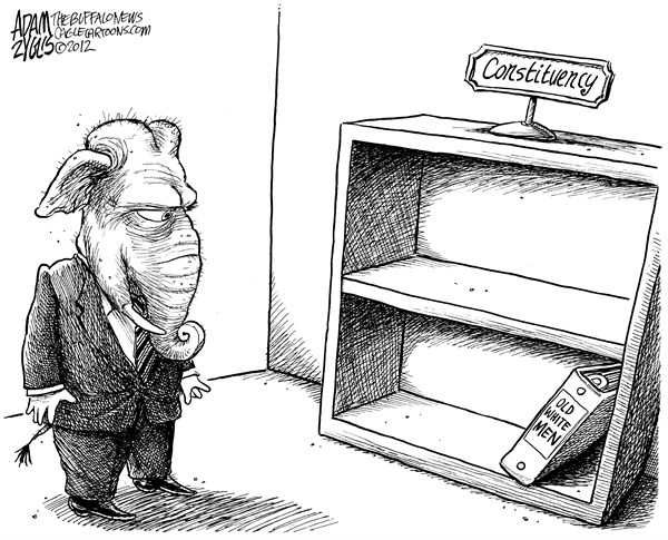 Adam Zyglis - The Buffalo News - GOP Constituency - English - gop, constituency, voters, base, old, white, men, demographics, romney, 2012, loss, minorities, women, binders, full