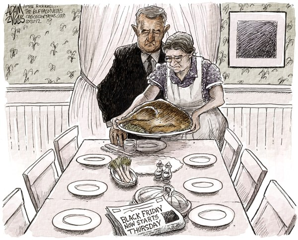 Adam Zyglis - The Buffalo News - Thanksgiving COLOR - English - thanksgiving, black friday, holiday, shopping, family, rockwell, norman, christmas, retailers, stores, comsumerism