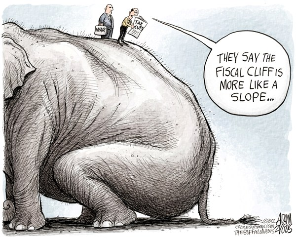 The Fiscal Slope © Adam Zyglis,The Buffalo News,fiscal cliff, slope, gop, republican, party, policy, bush, tax cuts, rich, war, iraq, afghanistan, terror, spending, congress, washington, government, politics, taxes, budget, negotiations