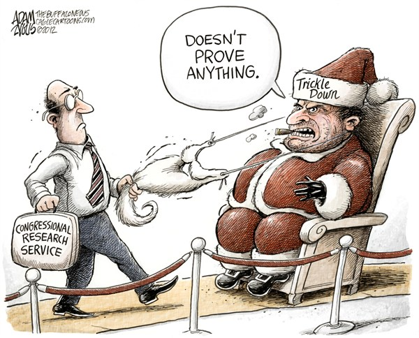 Adam Zyglis - The Buffalo News - Santa is Not Real COLOR - English - trickle down, economics, congressional, research, service, taxes, budget, gop, conservatives, bush, rich, class, warfare, santa, christmas