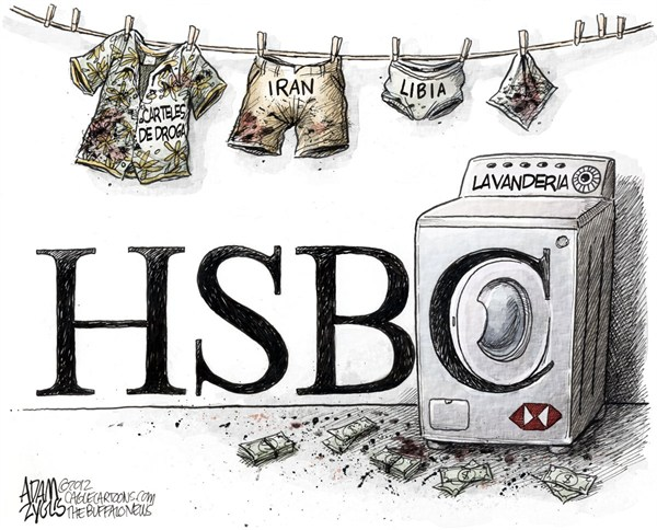Adam Zyglis - The Buffalo News - Banco HSBC - English - Banco,HSBC,lavado,dinero,Libia,Iran,Mexico,droga,carteles,actividad,ilegal,asentamiento,financiero,internacional,negocios