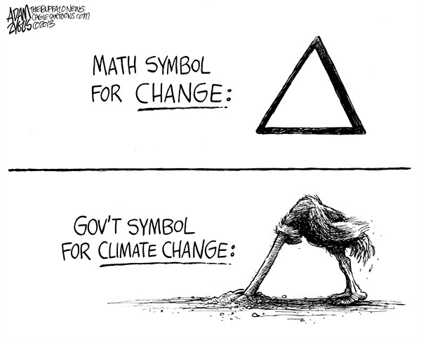 Adam Zyglis - The Buffalo News - Climate Change - English - climate change, change, delta, math, government, environment, global warming, science, congress, inaction, ostrich, sand