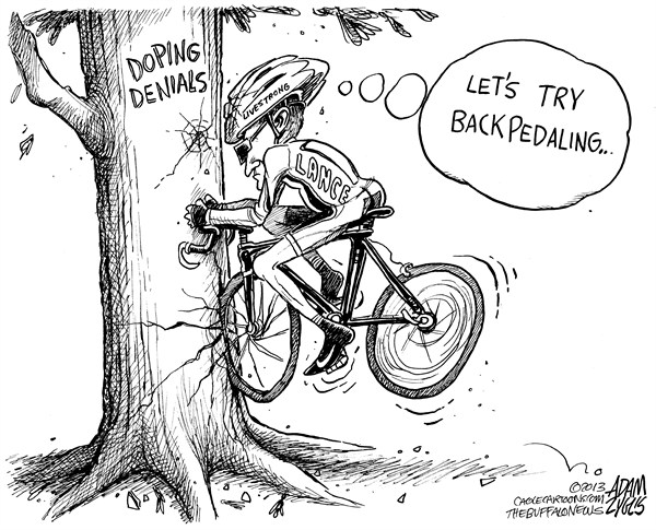 Adam Zyglis - The Buffalo News - Lance Backpedaling - English - lance, armstrong, lies, backpedaling, doping, denial, confession, admits, oprah, sports, cycling, performance, enhancing, drugs