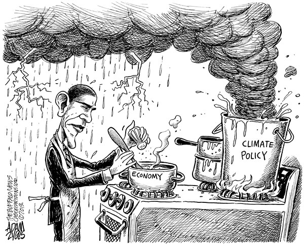 Adam Zyglis - The Buffalo News - Obama Climate Policy - English - obama, climate, policy, economy, environment, business, back burner, climate change, emissions, carbon, global warming, earth