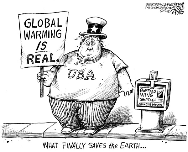Adam Zyglis - The Buffalo News - Buffalo Wing Shortage - English - global warming, chicken wings, buffalo, buffalo wings, climate change, obesity, america, food, fat, environment, earth
