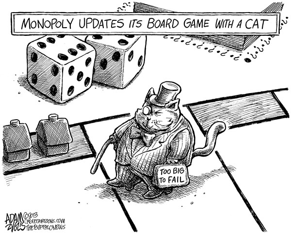 Adam Zyglis - The Buffalo News - Monopoly Cat - English - monopoly, cat, board game, piece, fat cat, too big to fail, wall street, economy, corporate, profits, class warfare, rich