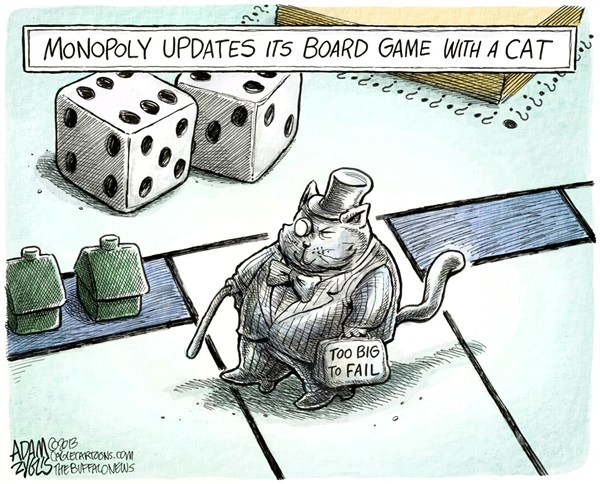 Monopoly Cat © Adam Zyglis,The Buffalo News,monopoly,cat,board game,piece,fat cat,too big to fail,wall street,corporate,profits,class warfare,rich, monopoly cat,Economy