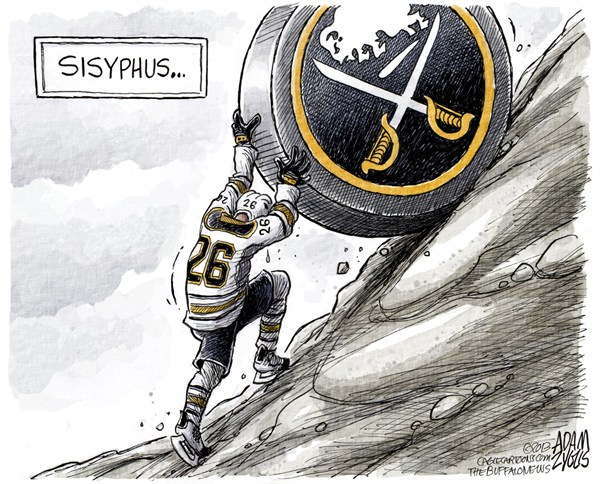 Adam Zyglis - The Buffalo News - Thomas Vanek COLOR - English - vanek, thomas vanek, sisyphus, buffalo, sabres, hockey, nhl, sports, professional, entertainment, goals, assists, points, league, leader
