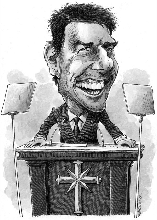 Adam Zyglis - The Buffalo News - Tom Cruise/Sciento- logy Caricature - English - tom cruise, celebrity, scientology, religion, caricature
