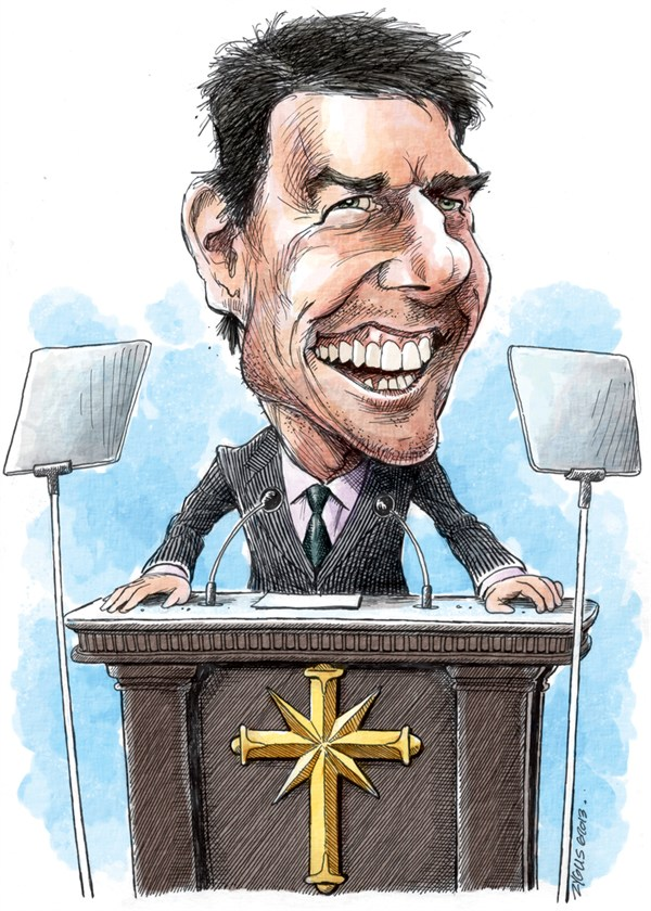 Adam Zyglis - The Buffalo News - Tom Cruise/Sciento- logy Caricature COLOR - English - tom cruise, celebrity, scientology, religion, caricature