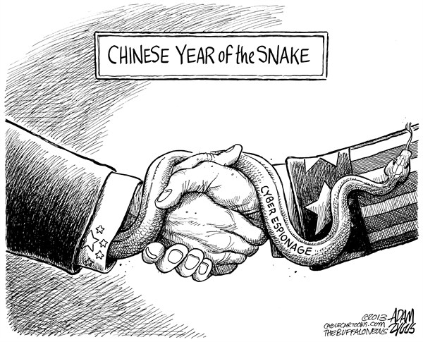 Adam Zyglis - The Buffalo News - Chinese Espionage - English - china, chinese, year of the snake, cyber, espionage, hacking, scandal, web, corporation, security, digital