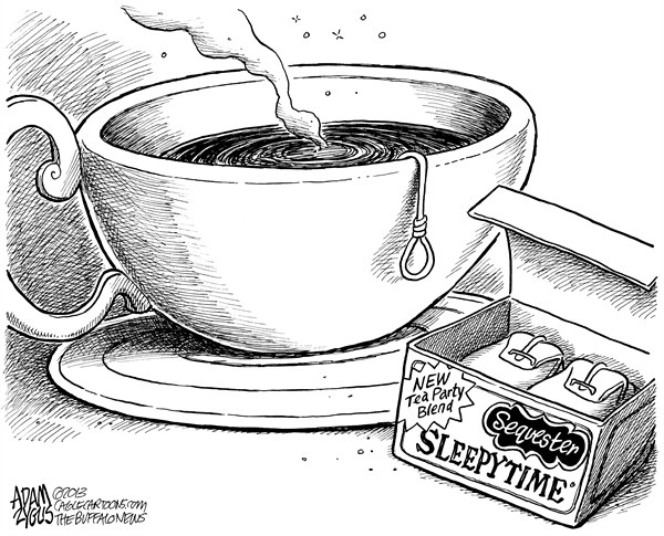 Adam Zyglis - The Buffalo News - Tea Party Austerity - English - sequester, sequestration, gop, tea party, cuts, government, tea, noose, spending, jobs, layoffs, austerity, congress, house