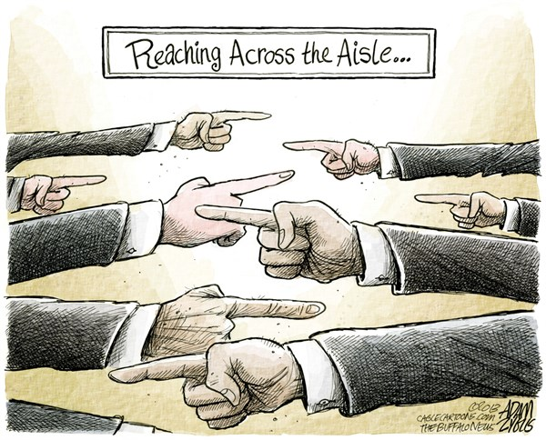 Adam Zyglis - The Buffalo News - Partisanship COLOR - English - bipartisanship, partisanship, sequester, sequestration, blame, congress, reaching across the aisle, compromise, division, politics, washington
