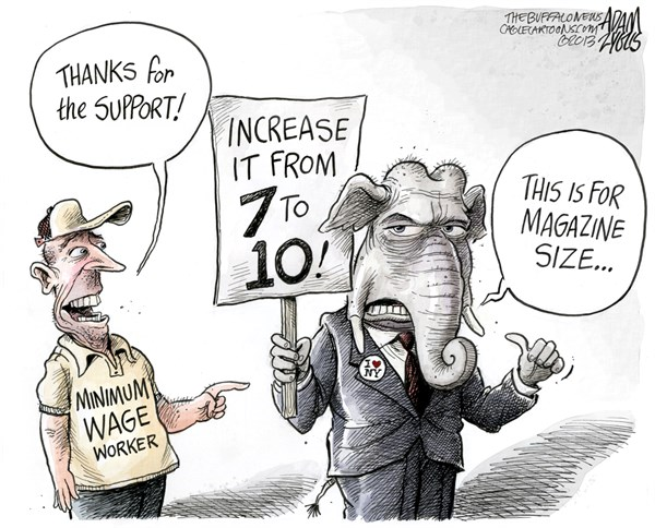 Adam Zyglis - The Buffalo News - NY State Minimum Wage COLOR - English - minimum wage, worker, economy, new york, ny, state, gop, republicans, magazine, limit, clip, rounds, 7, 10, gun, control law, albany
