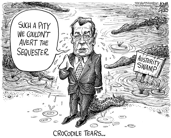 Adam Zyglis - The Buffalo News - GOP Austerity Swamp - English - john boehner, gop, republican, party, tea, congress, house, sequester, sequestration, austerity, cuts, budget, spending, defense