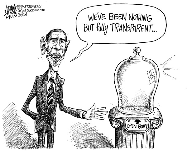 Adam Zyglis - The Buffalo News - Obama Open Government - English - obama, open government, barack, president, white house, secrecy, transparent, transparency, sunshine week