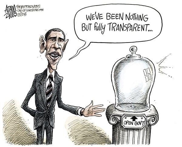 Adam Zyglis - The Buffalo News - Obama Open Government COLOR - English - obama, open government, barack, president, white house, secrecy, transparent, transparency, sunshine week