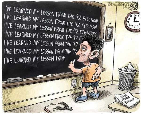 Adam Zyglis - The Buffalo News - Paul Ryan Budget COLOR - English - paul ryan, budget, house, gop, medicare, voucher, cuts, romney, 2012, 2013, learned, lesson, washington, politics, spending, entitlements