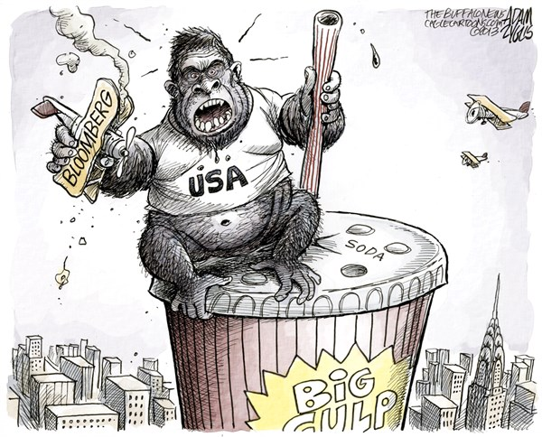 Adam Zyglis - The Buffalo News - New York War on Obesity COLOR - English - war, obesity, ny, new york, mayor, bloomberg, soda, ban, court, sugar, food, soft drinks, king kong, america, health
