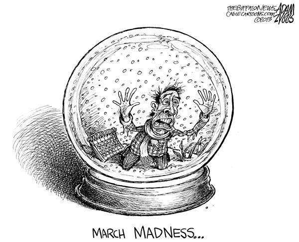 Adam Zyglis - The Buffalo News - Stuck in Winter - English - march madness, snow, winter, northeast, spring, weather, cold, seasons, march, april