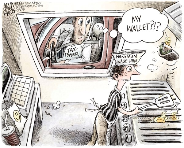 Adam Zyglis - The Buffalo News - NY State Minimum Wage Subsidy COLOR - English - new york, ny, state, minimum wage, hike, subsidy, training, teenagers, taxpayer, government, spending, economy, jobs, wages, public, private