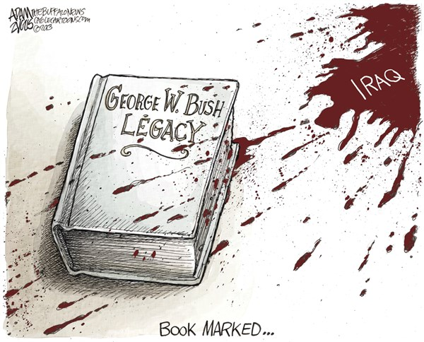 Adam Zyglis - The Buffalo News - Bush Legacy COLOR - English - bush, george, w, legacy, president, library, iraq, torture, war, wmd, bloodshed, crimes, military, invasion, foreign policy, middle east