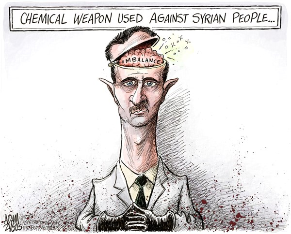 Bashar Assad © Adam Zyglis,The Buffalo News,syria, assad, chemical, weapons, civil, war, civilians, attacks, middle east, conflict, slaughter, people, foreign policy