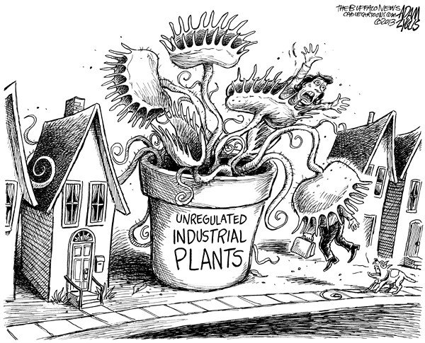Adam Zyglis - The Buffalo News - Unregulated Industrial Plants - English - regulation, deregulation, industry, industrial plants, chemicals, emissions, environment, risk, public, safety, texas, fertilizer, tonawanda coke, pollution, business