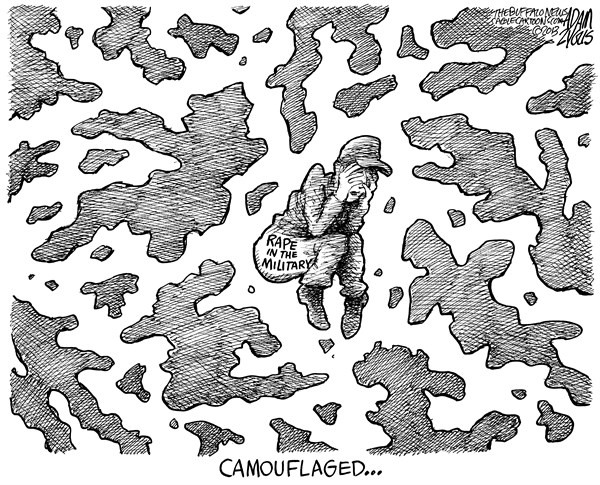Adam Zyglis - The Buffalo News - Rape in the Military - English - military, culture, rape, sexual, assault, women, service, army, navy, marines, chain of command, armed forces