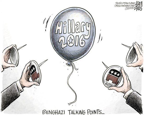 Adam Zyglis - The Buffalo News - Benghazi Talking Points COLOR - English - benghazi, talking points, libya, hillary, clinton, secretary, state, presidential, politics, campaign, 2016, gop, republican, party, smear, attacks, scandal