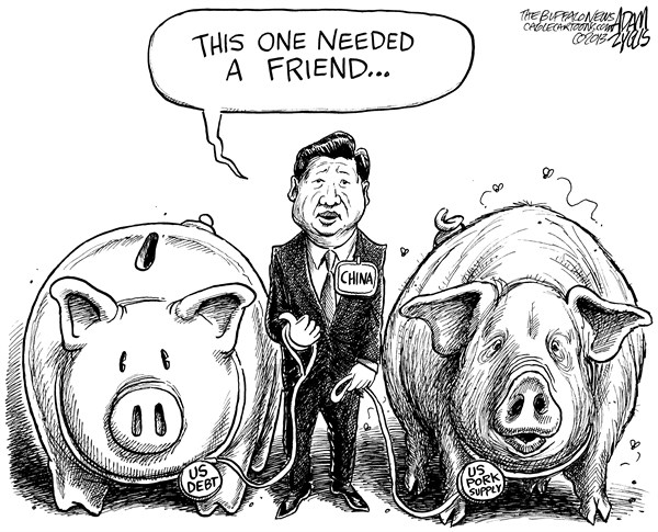 Adam Zyglis - The Buffalo News - China Acquiring Smithfield Foods - English - china, smithfield foods, pork, bid, billions, us, company, foreign, takeover, purchase, own, debt, american, consumption, president xi jinping