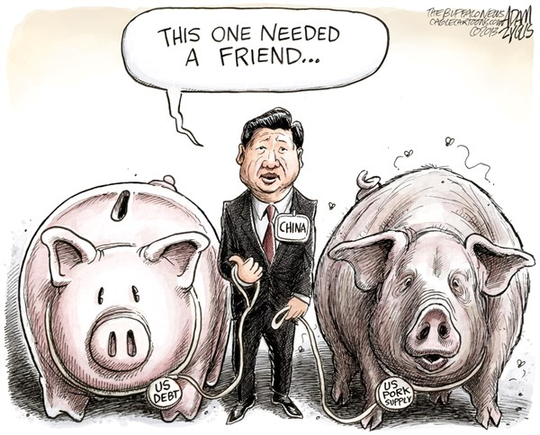 Adam Zyglis - The Buffalo News - China Acquiring Smithfield Foods COLOR - English - china, smithfield foods, pork, bid, billions, us, company, foreign, takeover, purchase, own, debt, american, consumption, president xi jinping